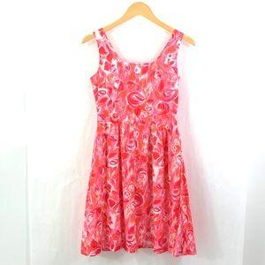 GARNET HILL Floral Watercolor Print Dress Pink L16